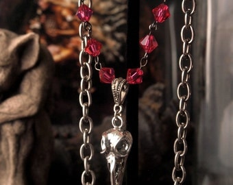 """Clearance item 40% Off Hummingbird Skull Necklace Pink 14"""" and 16"""" Adjustable"""