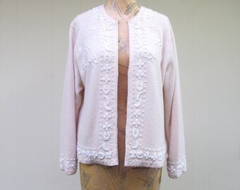 Vintage 1960s Sweater / 60s Beige Beaded Hong Kong Lambswool Cardigan / Medium