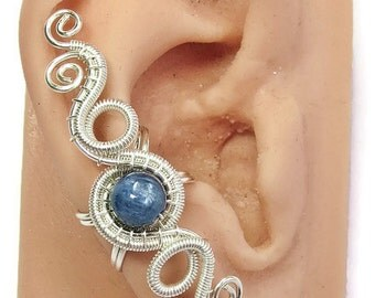 """Kyanite and Silver Woven Wire """"Hands of Time"""" Ear Cuff"""