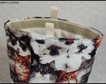 REUSABLE snack BAG-Cats and Kittens-100% Cotton Fabric-WASHABLE-Multiple Uses-Snacks, Travelling-etc-Ready to Ship