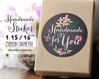 96 count Handmade for You stickers, Water Resistant Matte Lamination Finish, chalkboard flower stickers, round cut  (choose quantity below)
