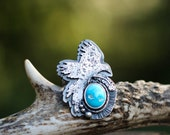 Sterling Silver Bird Ring. Natural Turquoise Ring. Bird Totem Ring. Turquoise Feather Ring. Spirit Animal Ring. Sparrow Robin Hawk Boho Ring