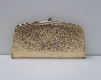 Gold Metallic Small Bag Vintage Gold Lame Coin Purse Snap Top Mini Bag Wallet Atomic Rockabilly Bombshell Vintage Hipster