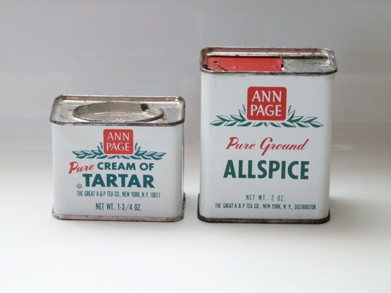 Items similar to vintage kitchen spice tins ann page a p for Retro kitchen set of 6 spice tins