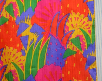 1980s Vibrant Silk Scarf