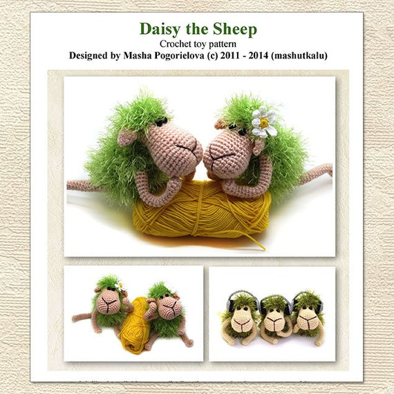 Daisy the sheep - pdf crochet toy amigurumi pattern - New Year 2015