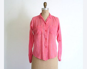 vintage 60s. 70s India gauze blouse - festival shirt / Rainbow Threads - metallic / Hippie - coral pink