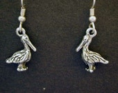 Sterling Silver Pelican Earrings on Heavy Sterling Silver French Wires