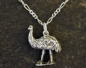 Sterling Silver Emu Pendant on a Sterling Silver Chain