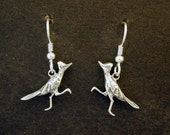 Sterling Silver Roadrunner Earrings on Heavy Sterling Silver French Wires