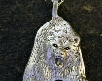 Sterling Silver Angry Bear Pendant on a Sterling Silver Chain.