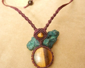 Tiger Eye Necklace in Plum Purple Micro Macrame Fiber Knotting