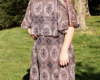 70's Boho Chic Sheer Dress Capelet Dress