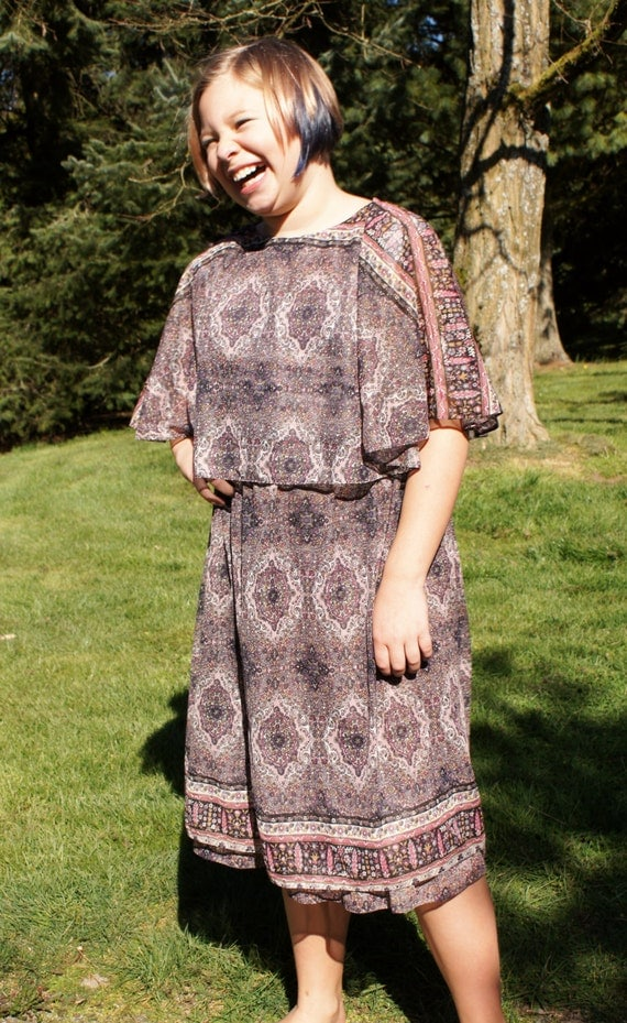 70's Boho Chic Sheer Dress Capelet Dress