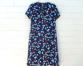 Vintage Shift Dress Butterfly Novelty Print Navy Blue Red White Keyhole Neck Tie Small Medium Large