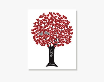 Customized Heart Tree with Lovebirds Red Silver Black - Anniversary Gift Monogram Name Date - Engagement Shower Anniversary