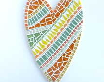 Mosaic Heart Decor, Heart Art in Orange and Yellow, Heart Mosaic