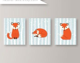 Baby Boy Nursery Decor Boy Nursery Art Fox Print Fox Nursery Decor Boy Bedroom Art Baby Boy Bedroom Decor Fox Decor Set of 3 Baby Gift