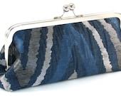 Blue Clutch Purse -  Silver Navy Evening Bag - Women's Handmade Metal Frame Handbag
