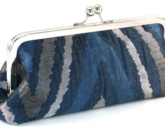 Blue Clutch Purse -  Silver Navy Evening Bag - Women's Handmade Metal Frame Handbag