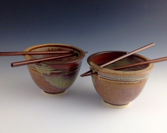 Pair Rice / Noodle bowls - Tan w Earth Red accents