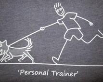 Men's T-Shirt, Personal Trainer, Dog Shirt, Indigo