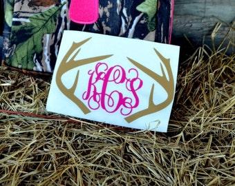 Deer Antler Monogram Decal - Car Decal - Hunting - Buck Deer - Buck