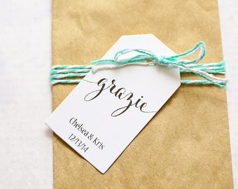 Grazie Favor Tag, Italian Thank You, Bridal Shower Favor Tag, Wedding Favor, Confetti Tag, Bomboniere - 1.25 x 2.25 inches, Set of 25, CAN