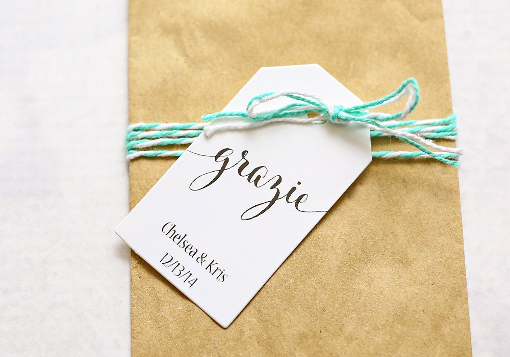 Thank You For The Wedding Gift In Italian : Grazie Favor Tag Italian Thank You Bridal Shower Favor Tag