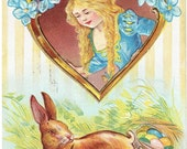 Nash Series 21 Easter Greetings Antique Postcard 1912 Princess in the Window Easter Bunny with Eggs