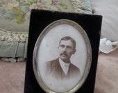 Antique Victorian Cabinet Card Photo of Man Mustache in Silver Tone PURPLE Velvet Frame