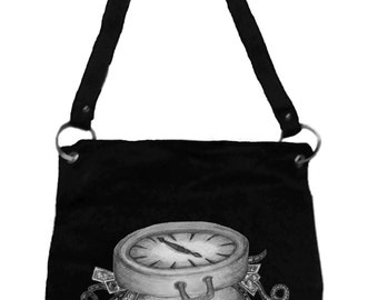 Alice in Wonderland Messenger Bag- Clock & Suitcase of Memories, Tim Burton Inspired, proceeds to Alzheimer's Association