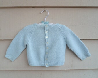 Vintage Baby  - DECOR ITEM - 24MO - Hand Knit Blue Cardigan Nursery Decor