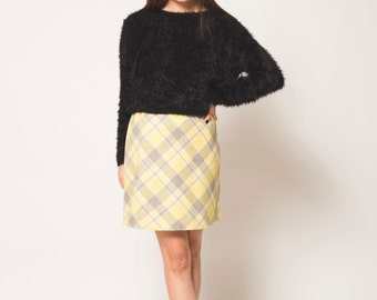 Yellow Plaid High Waisted Vintage Wool Skirt