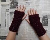 Chunky Crocheted Wristwarmers - Claret