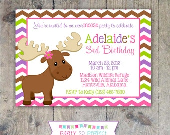 MISS MOOSE 5x7 Invitation - Girl Birthday Party - PRINTABLE