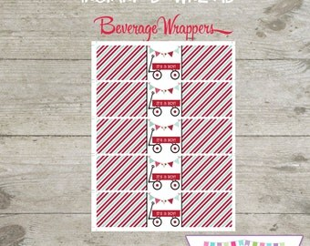 INSTANT DOWNLOAD - Beverage Wrappers - Red Wagon Printable