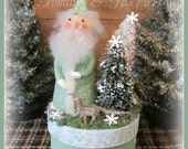 Primitive Santa, Paper clay Santa, Christmas, Santa, Reindeer, WInter