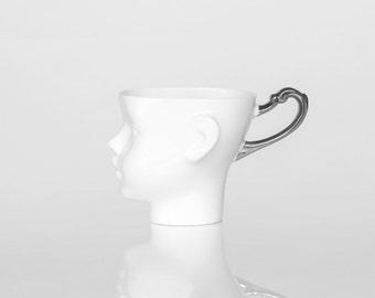 Whimsical Doll head mug - white porcelain and silver artisan cup, whimsical ceramic mug design