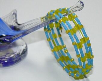 Blue & Sunshine Yellow Beaded Bangle Memory Wire Bracelet