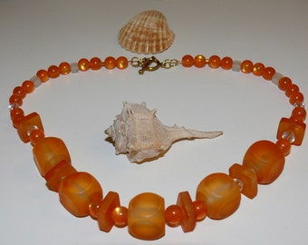 Chucky Orange Cube and Clear Beaded Handmade Necklace