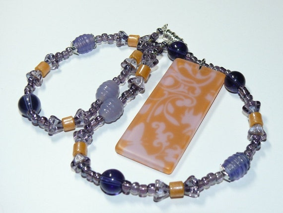Flower-Animal Print Rectangle Pendant with Purple Beaded Handmade Necklace with Magnetic Closure