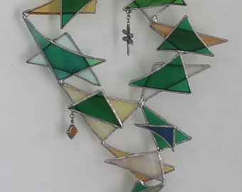 Geometric Abstract Stained Glass Suncatcher