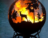255.00 OFF - Up North Fire Pit - Custom Outdoor Hand Cut Steel Deer Firepit Sphere SALE