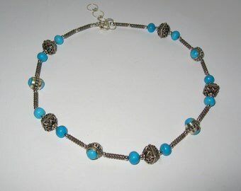 Turquoise In Antiqued Sterling Silver Choker