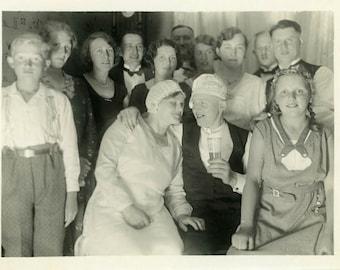 "Vintage Photo ""Celebration"" Snapshot Photo Old Antique Picture Black & White Photography Found Photo Paper Ephemera Vernacular - 111"