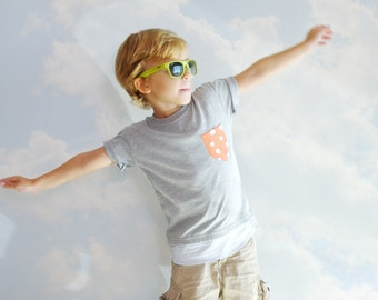 Boy Tee and Shirt, Little Boy T-shirt with Shirt, Short sleeves Gray T-shirt with Pocket, Boys T-shirts, Boys summer outfit