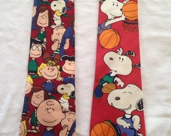 snoopy and peanuts silk neckties