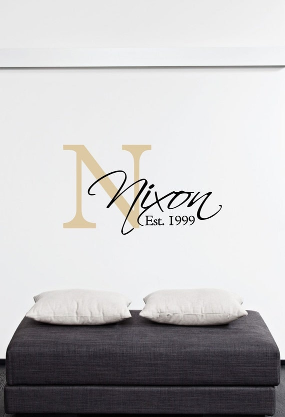custom family last name monogram family vinyl wall art. Black Bedroom Furniture Sets. Home Design Ideas
