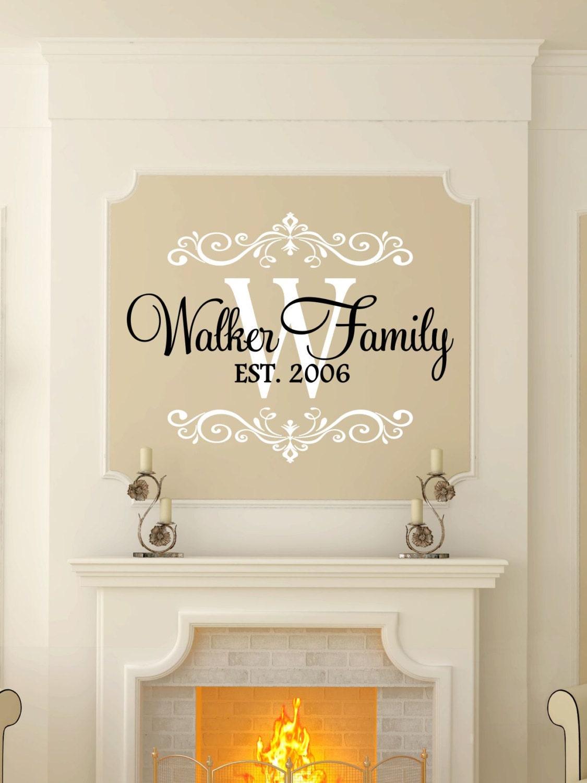 Custom last name monogram vinyl decal set family vinyl for Decor names